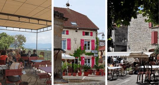 Terrasses des Bistrots de Pays: La terrasse de Lurs, L'Auberge de la Fontaine & Le Canigou